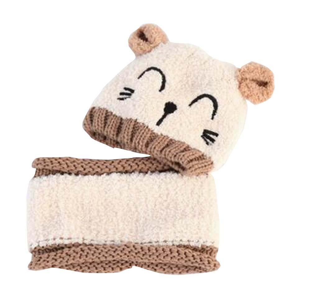 Los productos Sombrero encantador del bebé Algodón Beige Conjunto del calentador del cuello de invierno al aire libre Black Temptation