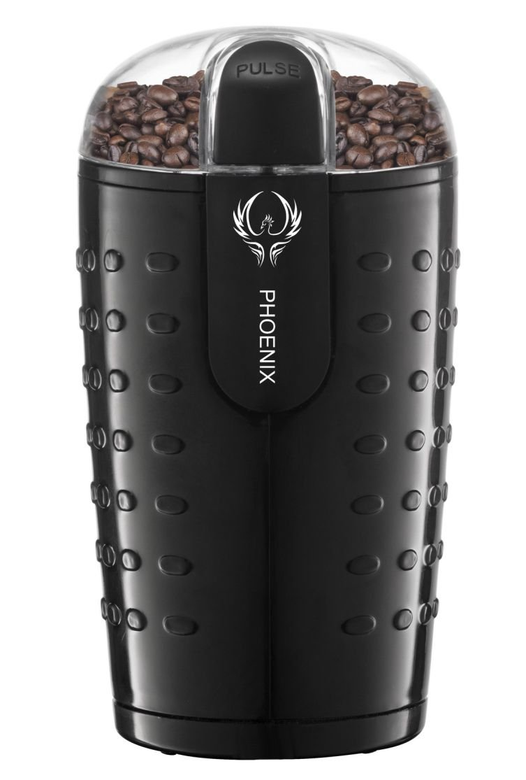 Phoenix Coffee Grinder with Brush , Oval Design with Stainless Steel Blade - B250 - 2.5oz (70 gm) capacity - Black by PHOENIX VITAL LIFE