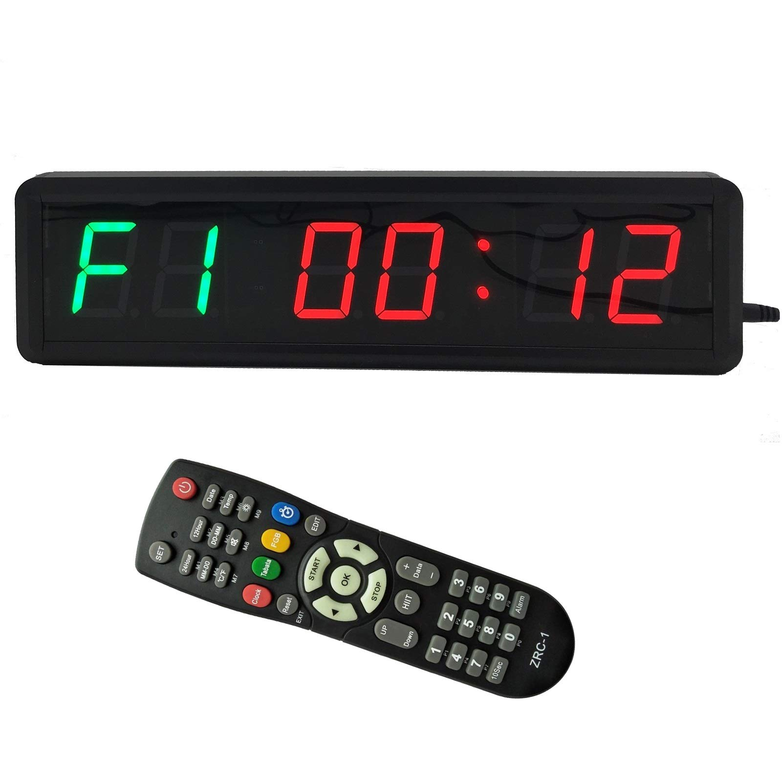 BTBSIGN 1.8'' LED Interval Workout Timer Countdown Stopwatch (Two Green+Four Red)