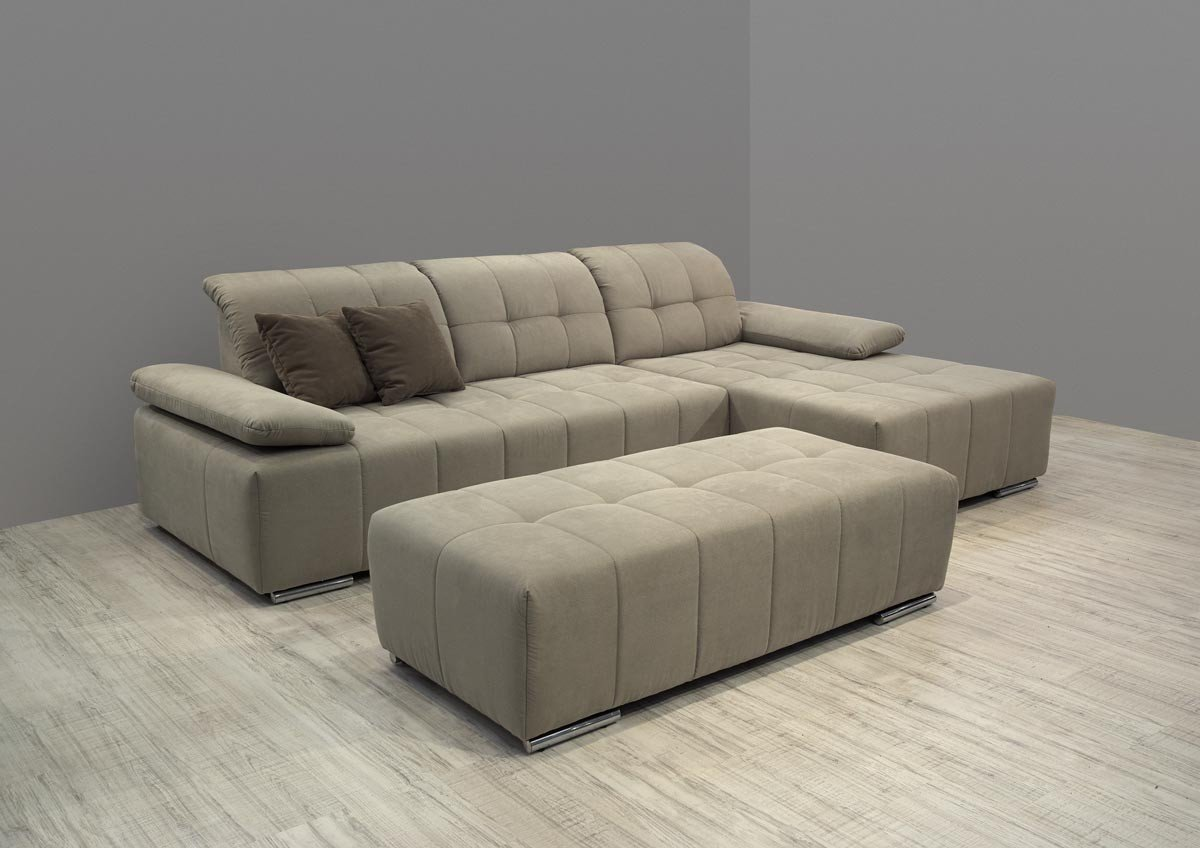 Dreams4Home Polsterecke Palea Sofa Ecksofa Couch Armlehnfunktion, opt. Hocker cappucino beige, Aufbauvariante:Longchair/Ottomane rechts;Hocker:mit Hocker