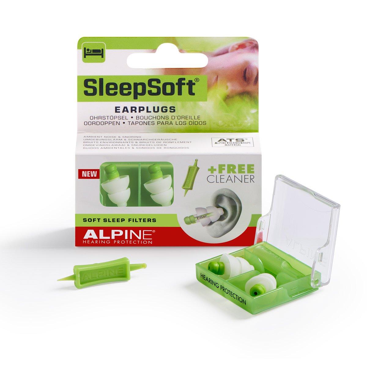 Alpine SleepSoft Tapones - Bloquea los ronquidos y mejora el sueño - Filtros suaves diseñados para dormir - Material hipoalergénico cómodo - Tapones ...
