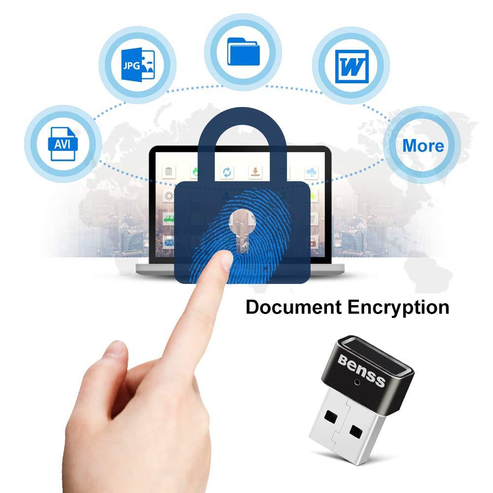 Windows Hello Fingerprint USB cl/é de s/écurit/é certifi/é WQHL Benss Lecteur dempreintes digitales pour Windows 10 360 degr/és Speedy Correspondant