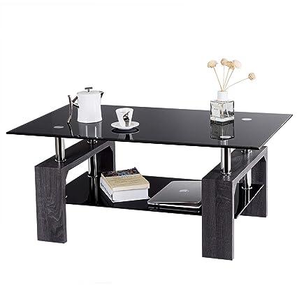 Amazon.com: Tangkula Glass Coffee Table Modern Simple Style ...