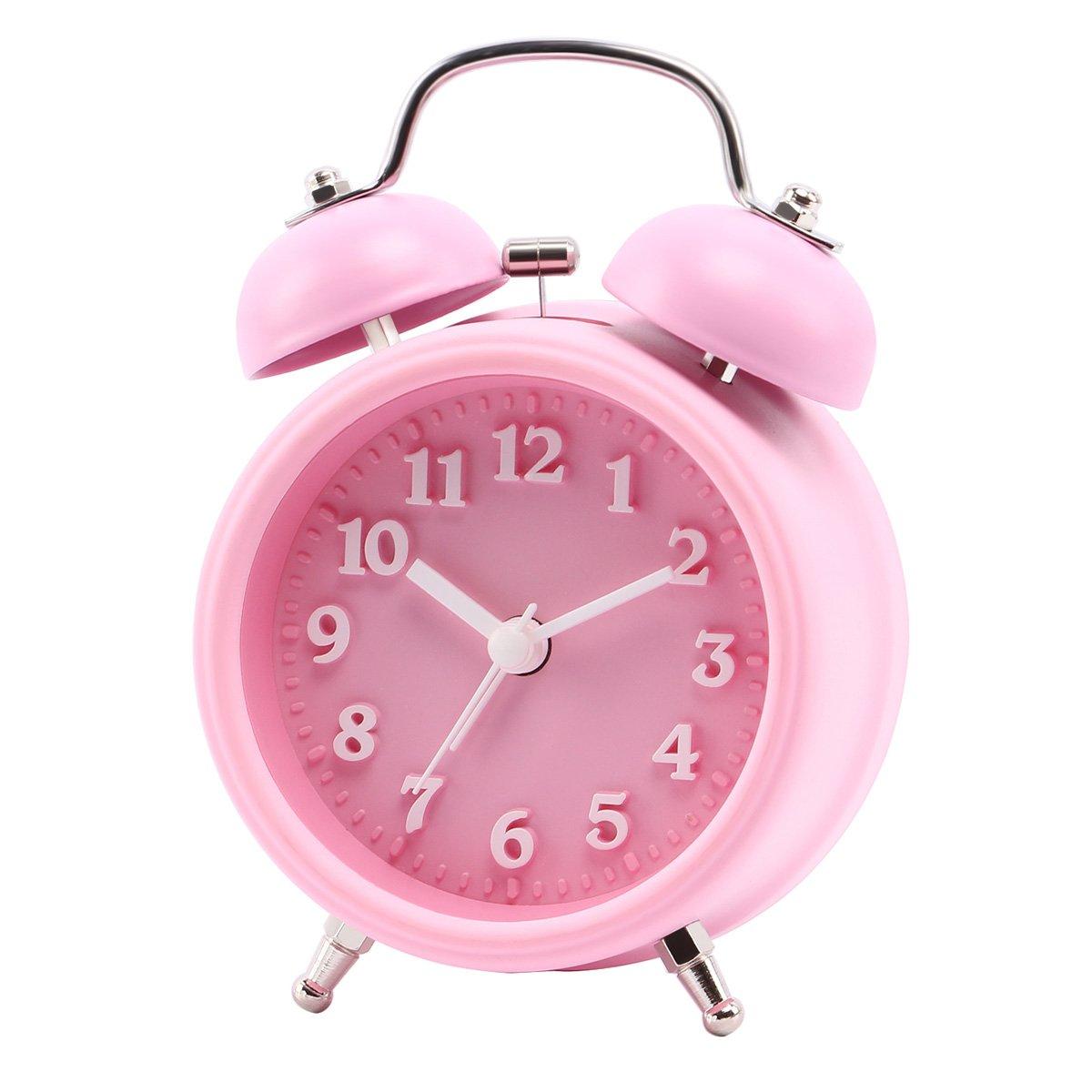 Wecker f/ür Schlafzimmer und Tiefschl/äfer Chycet 3 Retro Glockenwecker mit Nachtlicht Lauter Alarm kein Ticken ger/äuschlos Gr/ün.