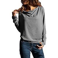 Sweat Col Bateau Tops Femme Pull Simple Manche Longue Casaul Shirt Élégant Haut Mode