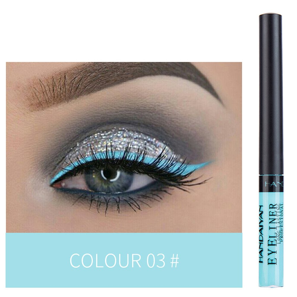 1 PC Metallic Shiny Smoky Eyes Eyeshadow Easy To Wear Waterproof Pigment Red White Gold Liquid Eyeliner Glitter Makeup C