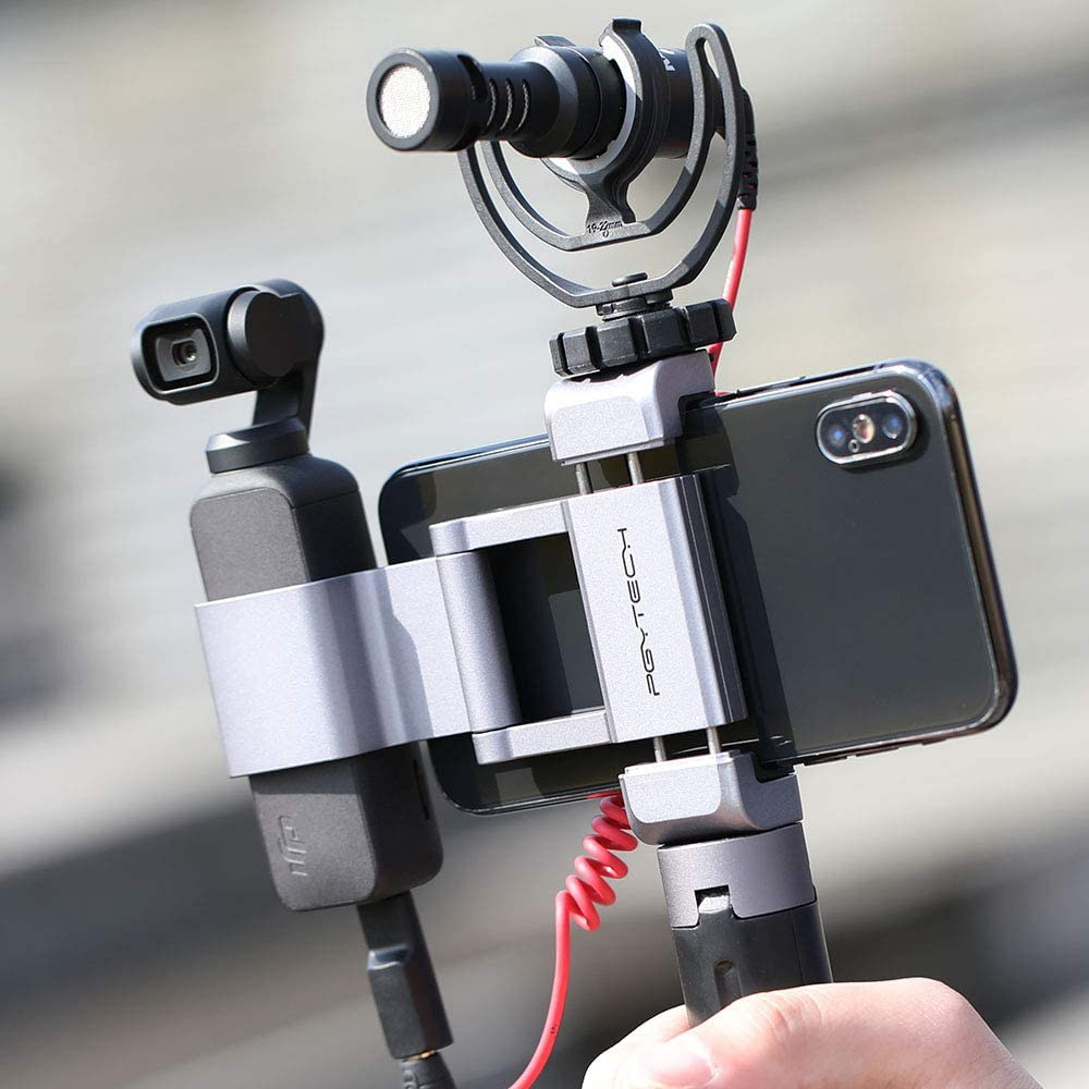 Width/≤90mm ,Foldable Aluminum Phone Holder Plus Bracket Set for DJI Osmo Pocket,for Mobile Phone Hooshion PGYTECH for Osmo Pocket Phone Holder