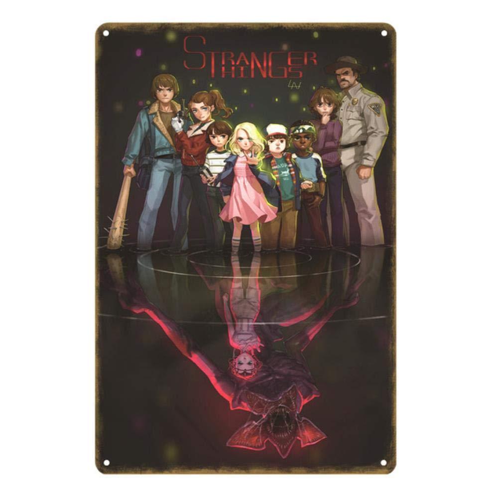 Haute Qualit/é R/étro M/étal Signes Stranger Things Affiche Vintage Peinture Plaque Pub Bar Caf/é Maison D/écor /À La Maison Mur Art Cadeau YN177-NEW0142B 20x30cm
