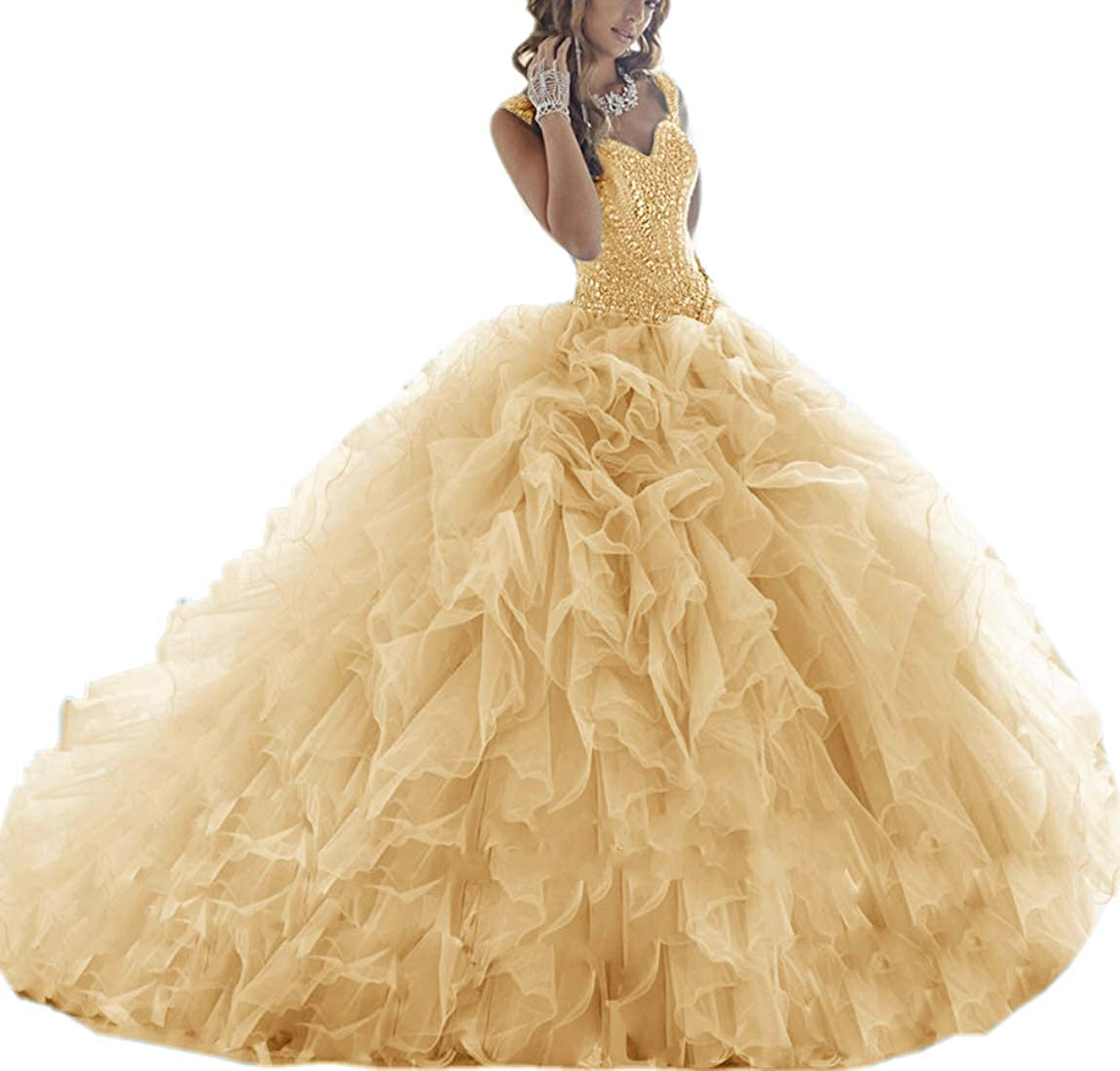 gold APXPF Women's Crystals Beaded Organza Ruffle Quinceanera Dress Sweet 16 Ball Gown Prom Dress