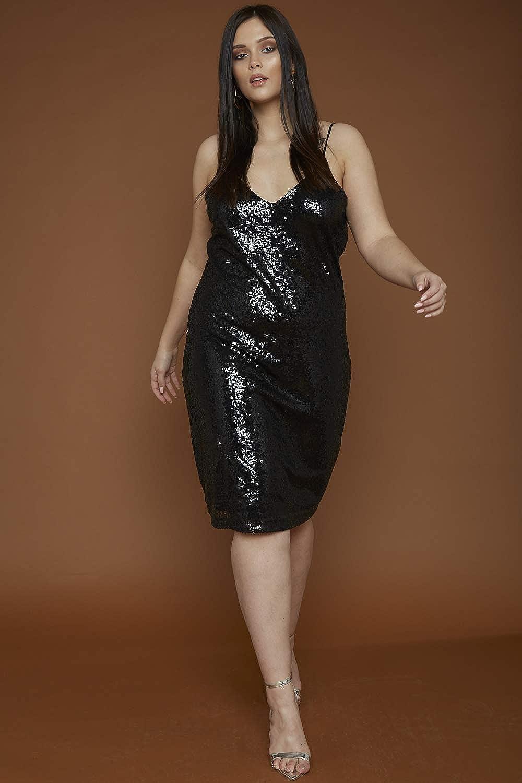 UNIQUE21 Women Sequin Midi Cami Slip Dress Ladies Cocktail Evening Gowns Club Party Dresses
