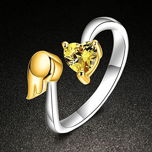 Date Platinum Ring (A.Yupha Fashion ring : Valentine's Gift Women Angel Wing Heart Shape Zircon Open Ring Jewelry Exquisite (golden))