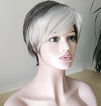 Royalfirst Pelucas Para Mujer Pelo Corto Color Gris Y Blanco Pelo Natural Con Tapón De Peluca Beauty