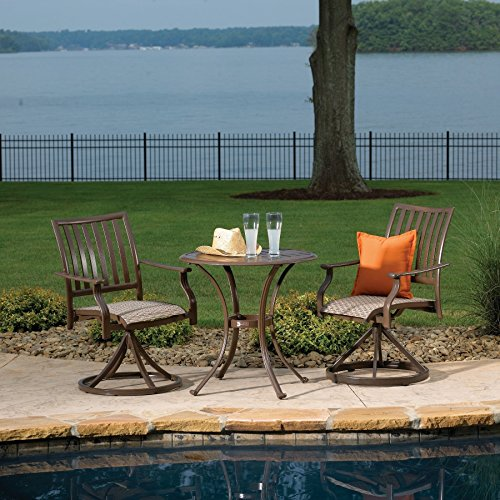 Panama Jack Outdoor Island Breeze 3-Piece Slatted Dining Bistro Group Set, Includes 2 Swivel Rocking Chairs and 30-Inch Round Table Aluminum Slatted Table price