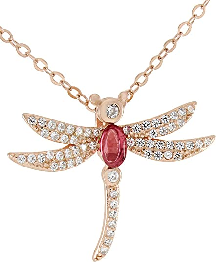 AFFY Dragonfly Pendant Necklace Simulated Tourmaline /& Cubic Zirconia White Gold Over Sterling Silver