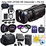 Sony HDRCX900/B CX900 Full HD Handycam With CS Platinum Kit. Includes: Boom Mic, LED Video Light With 2 Lithium Batteries And Arm Bracket, High Definition Wide Angle Lens, Telephoto HD Lens, 3 Piece Filter Kit (UV,CPL,FLD) 2x High Capacity Sony FV100 Repl