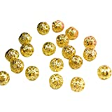 Beading Station 200-Piece Filigree Hollow Ball Spacer Metal Beads for Jewelry Making, 4mm, Gold
