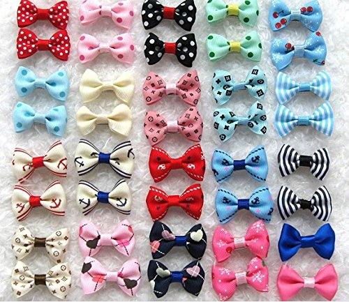 (Dogs Kingdom Variety Patterns Pet Dog Cat Head Flower Hairpin Pet Bow Hairpin Random-10Pcs One Size)
