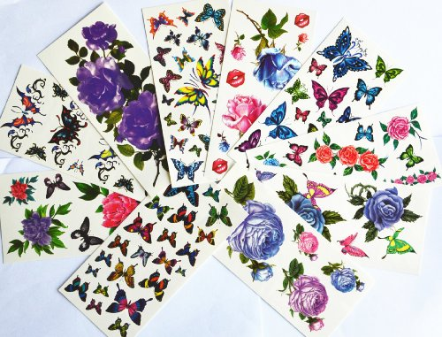 Temporary Tattoo Purple Package (10pcs/package hot selling temporary tattoo stickers various designs including purple peony/blue and red roses/colorful flowers and butterflies/red lips/etc.)