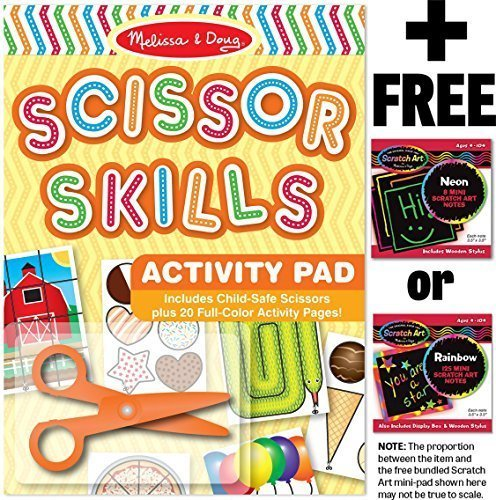 Scissor Skills Activity Pad + FREE Melissa & Doug Scratch Art Mini-Pad Bundle [23047] Doug Scissors Set