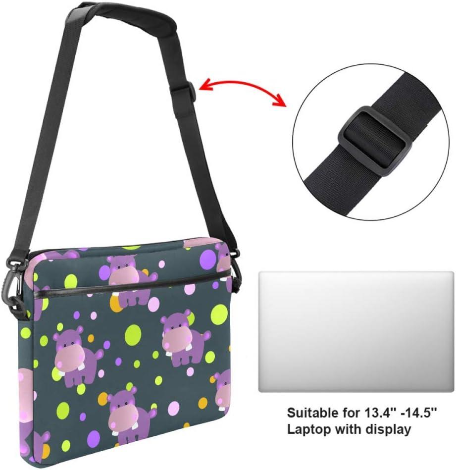 Cartoon Cute Toy Baby BehemothLaptop Case Canvas Pattern Briefcase Sleeve Laptop Shoulder Messenger Bag Case Sleeve for 13.4-14.5 inch Apple Laptop Briefcase