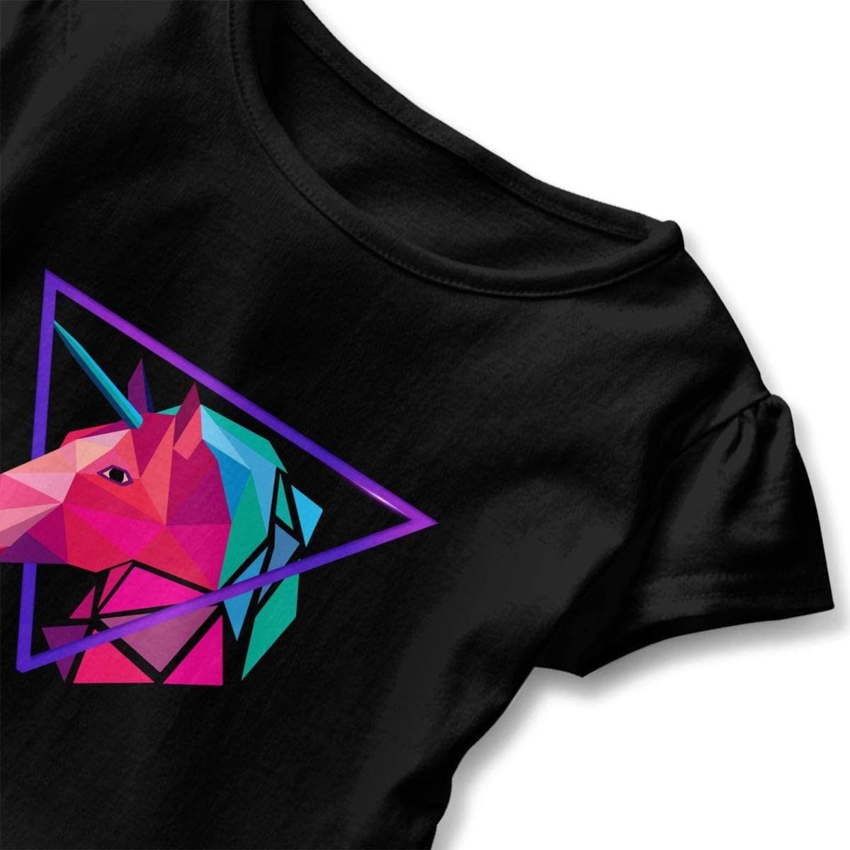 Geometric Unicorn Triangle Toddler Girls T Shirt Kids Cotton Short Sleeve Ruffle Tee