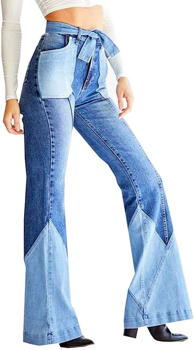 High Waisted Jeans Color Block Patched Hippie Classic Wide Leg Jeans for Women