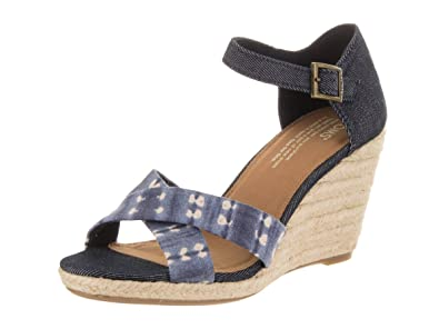 a9d452044a TOMS Women's Sienna Wedge Navy Batik Stripe/Denim 6.5 B US B ...