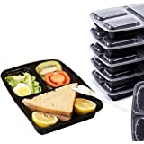 3 Compartments Meal Prep Container (Pack of 10), 25x19.2x5.5 cm - Reusable Food Storage Containers with Lid - Portion Control Lunch Bento Box – Microwaveable, Freezer & Dishwasher Safe, Stackable
