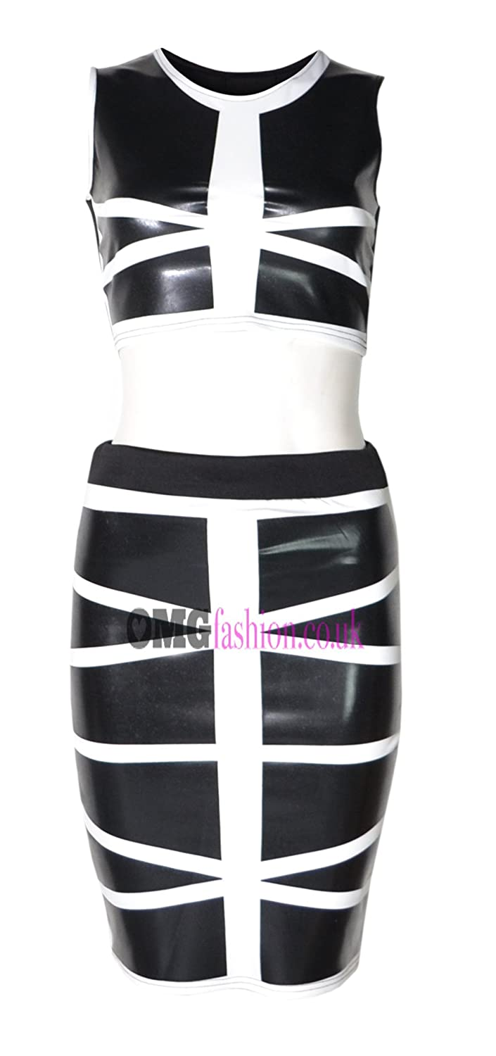 WOMENS WET LOOK MONOCHROME 2 PIECE MIDI SET (MTC)