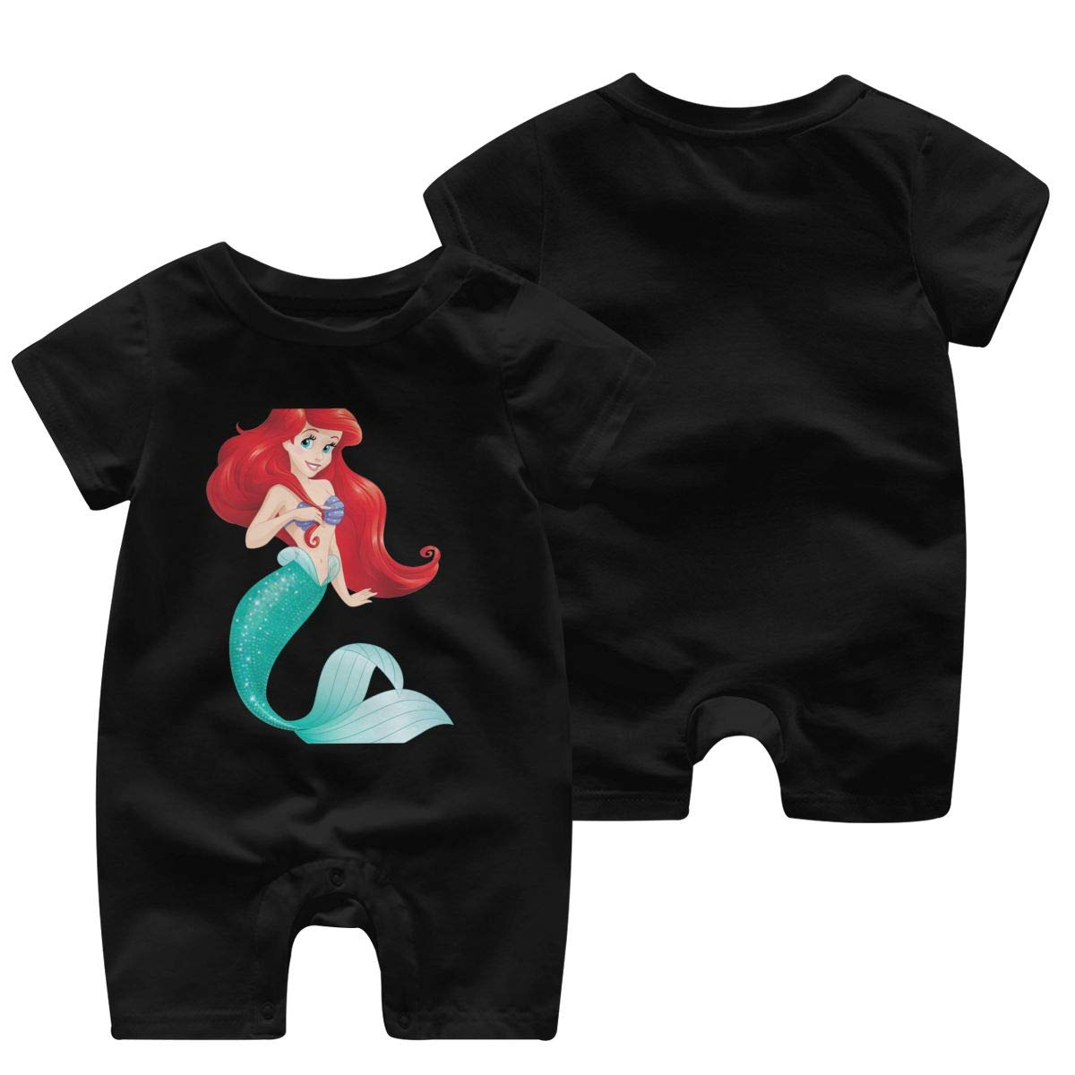 Baby Infant Boy Girl Short Sleeve Red Hair Mermaid Jumpsuit Romper Pajamas Clothes Summer Outfits Black