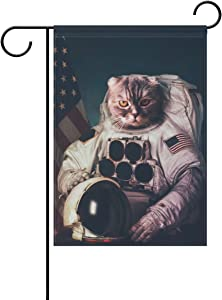 ALAZA Double Sided Handsomen Cat Astronaut and American Flag Polyester Garden Flag Banner 12 x 18 Inch for Outdoor Home Garden Flower Pot Decor