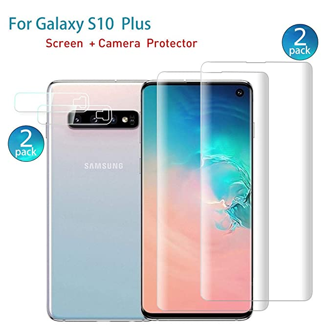 HD Clear Anti-Bubble Film with Easy Installation. Full Screen Coverage Screen Protector 3D Curved Tempered Glass Screen Protector with Camera Lens Protector for Samsung Galaxy S10 2-Suit