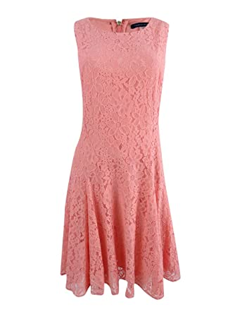 3521dcd9ed111 Tommy Hilfiger Coral Womens Floral-Lace Sheath Dress Pink 8 at Amazon  Women's Clothing store: