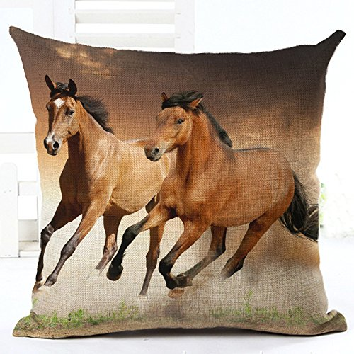 [Oil Painting 2 coffee horses Hand Painted Throw Pillow Case Cotton Blend Linen Cushion Cover Sofa Decorative Square 18 Inches(2) ¡­] (45 Coffee Wave Art)