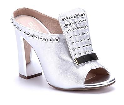 Schuhtempel24 Damen Schuhe Pantoletten Sandalen Sandaletten Blockabsatz Nieten 11 cm High Heels