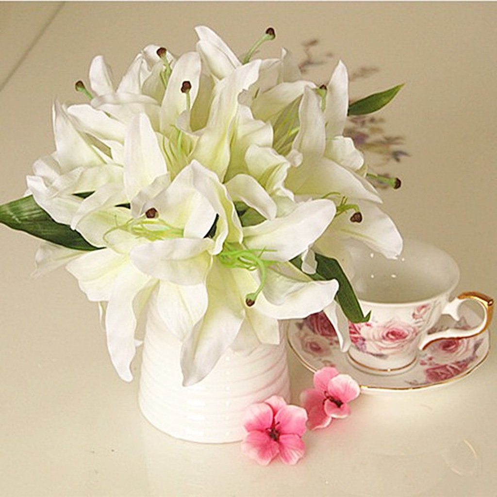 Artificial Silk Lily Home Table Vase Wedding Decor Bridal Flower Girl Bouquet 5 Colors Dark Pink