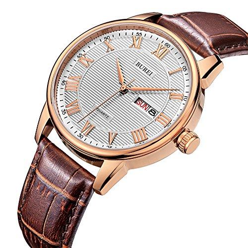 BUREI Men's Classic Quartz Wristwatch with Day Date Calendar Big Roman Numerals White Texture Dial Design and Brown Leather Strap (Brown Roman Dial)