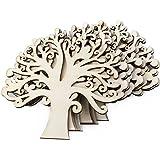 Qinlee 10 Pcs Natural Wooden Tree Shape Craft Embellishments Decoration DIY Arts Crafts Making 12.5x12.5x0.3cm