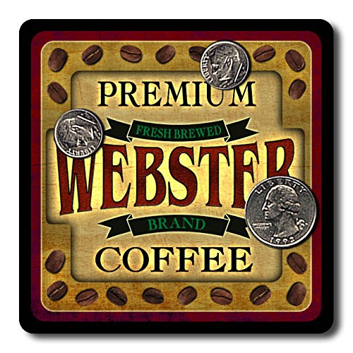 Webster Coffee Neoprene Rubber Drink Coasters - 4 Pack (Webster Coasters)