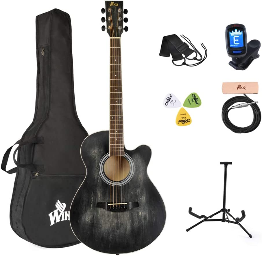 Winzz 40 Pulgadas Guitarra Acústica Cuerdas de Acero para Principiantes Adultos y Estudiantes, Elegante Diseño de Color Único (Negro)