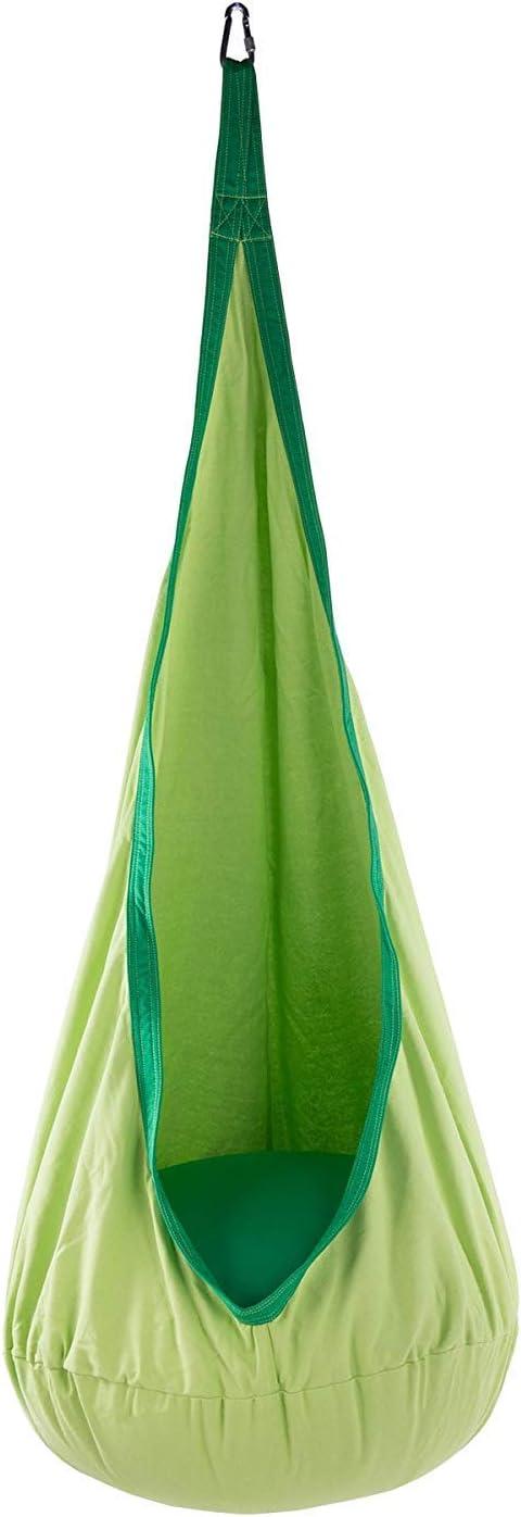 Verde Sfeomi Sedia Sospesa per Bambini Swing Amaca a Sedia Appesa Forte e Resistente con Cuscino Gonfiabile da Esterno Interno Giardino Carico Massimo 80kg
