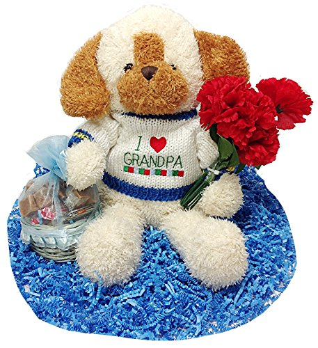 I Love Grandpa Fathers Day 15'' Plush Dog With Flowers & Basket of Candy by Distinctive Designs