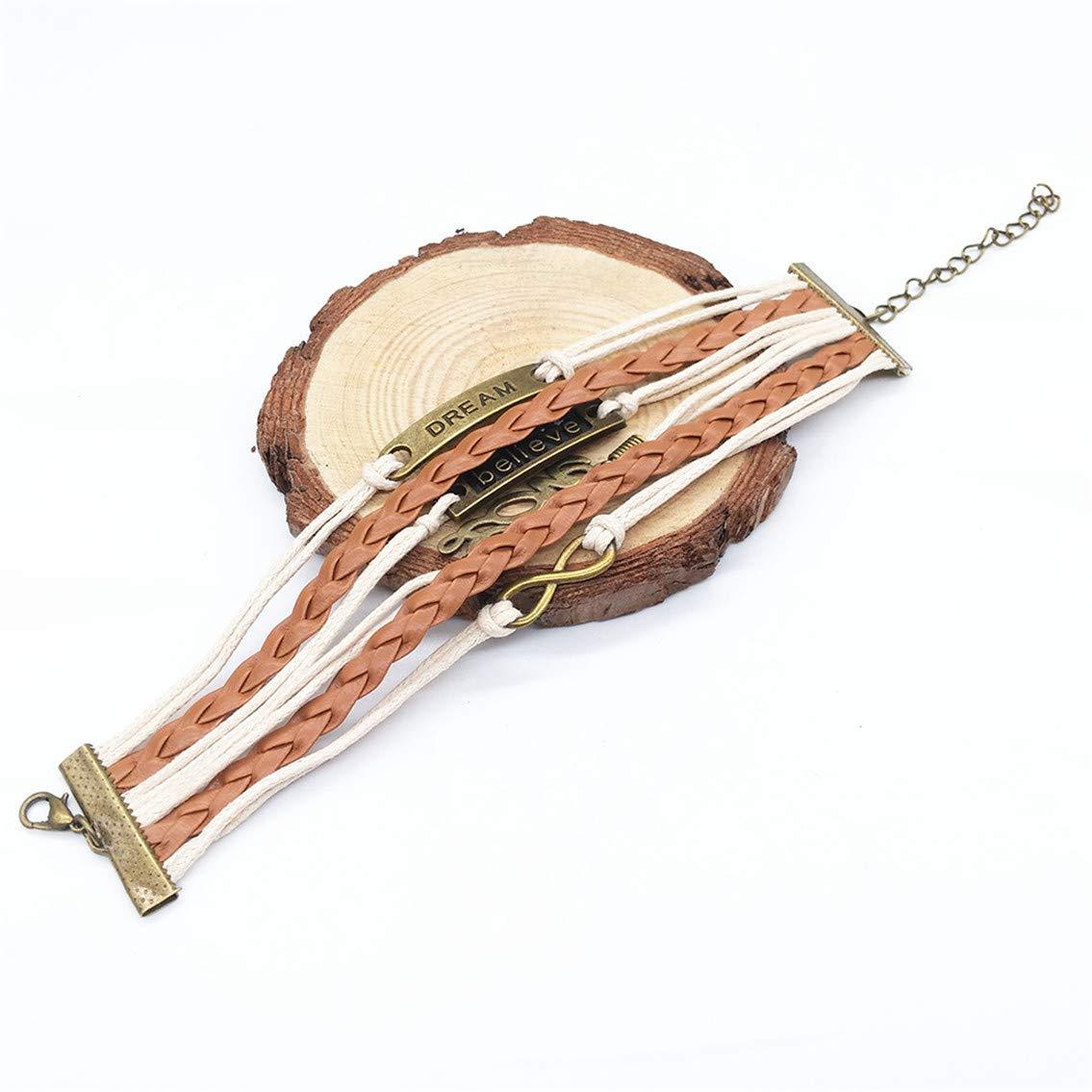 NIKOLay Retro Love Dream Bright Leather Rope Hand-Woven Bracelet Temperament Simple Hand Strap