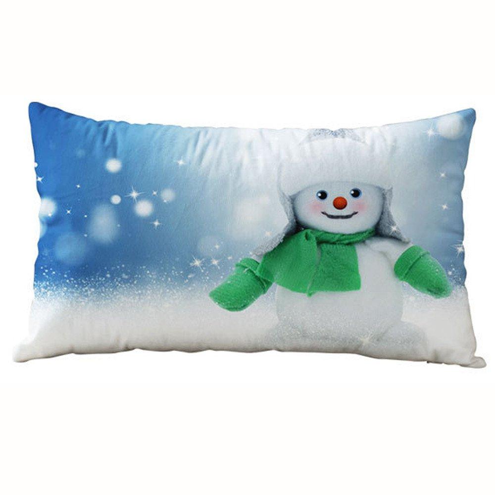 ESAILQ 30*50CM Christmas Rectangle Cotton Linter Pillow Cases Cushion Covers (30 x 50cm, A) ESAILQ1