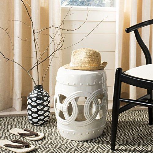 Safavieh Double Coin Ceramic Decorative Garden Stool, Antique White