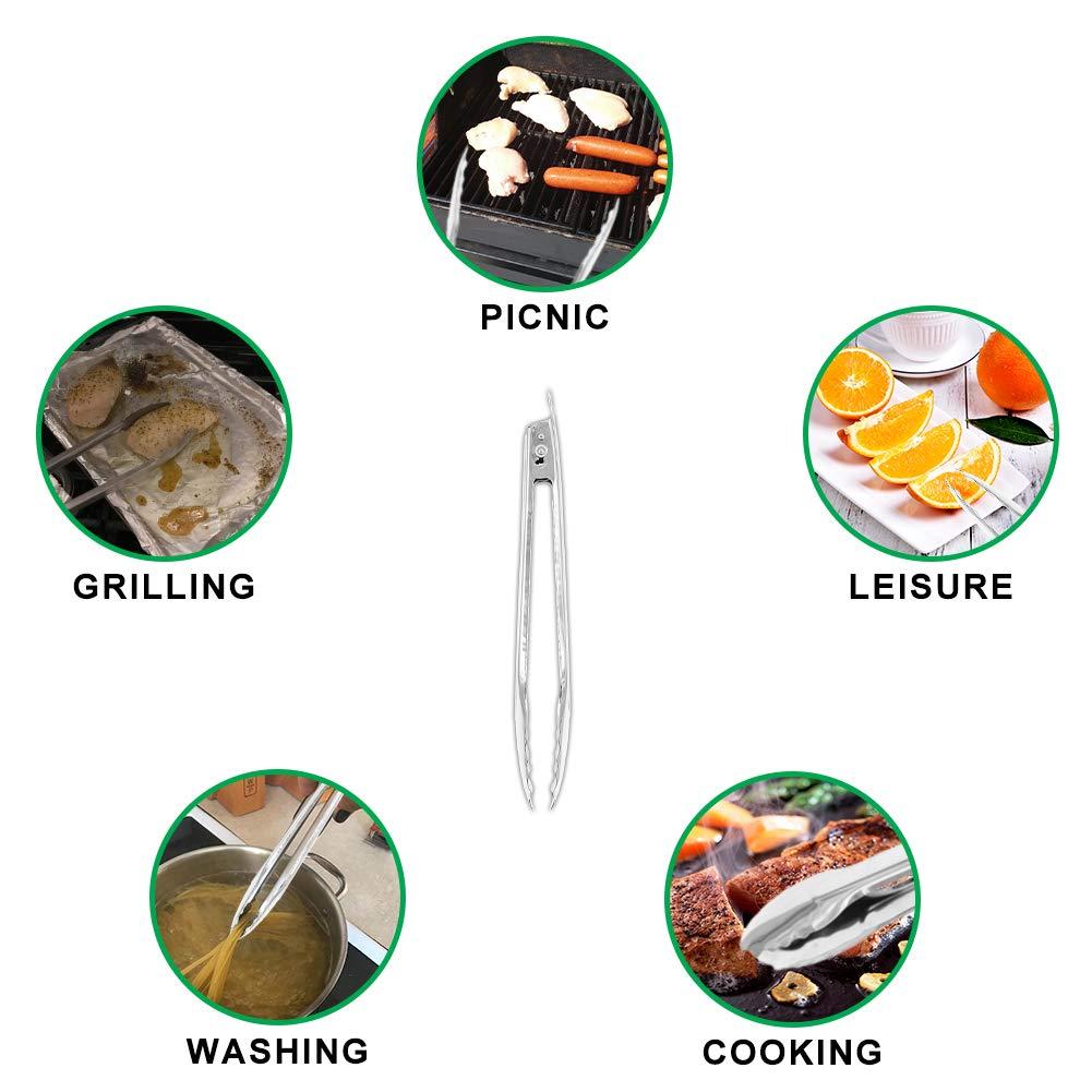 argent, 12 pouces 2 Pack grand /épaississement verrouillage en acier inoxydable pinces pour griller et barbecue Coideal cuisine pinces pour cuisine Grill /& BBQ