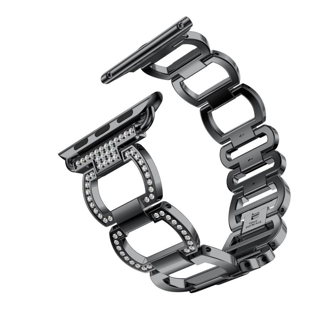 Apple Watchシリーズバンド、ダイヤモンドステンレススチールブレスレット時計バンドストラップfor Apple Watchシリーズ3 42 mm B075SVNDZQブラック