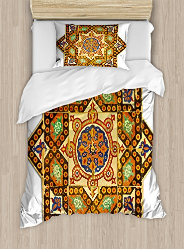 Ambesonne Arabian Duvet Cover Set Twin Size, Vintage Floral Geometrical Pattern with Turkish Ottoman Calligraphic Art Boho Print, Decorative 2 Piece Bedding Set with 1 Pillow Sham, Multicolor by Ambesonne