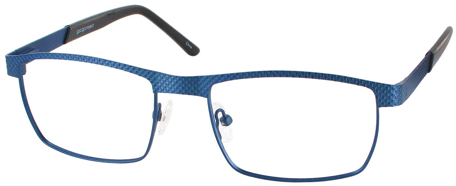 Goo Goo Eyes 845 Computer Style Progressive Designer Reading Glasses, Man Of Steel Blue, +1.50