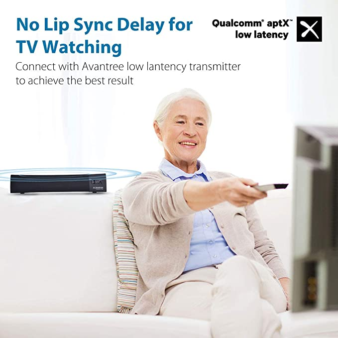 Faible Latence st/ér/éo Surround 3D pour Les appels TV et Musique Avantree Haut-Parleur sans Fil Portable aptX HD NB05 Bluetooth 5.0 Enceinte Tour de Cou personnelle avec /écouteurs r/étractables